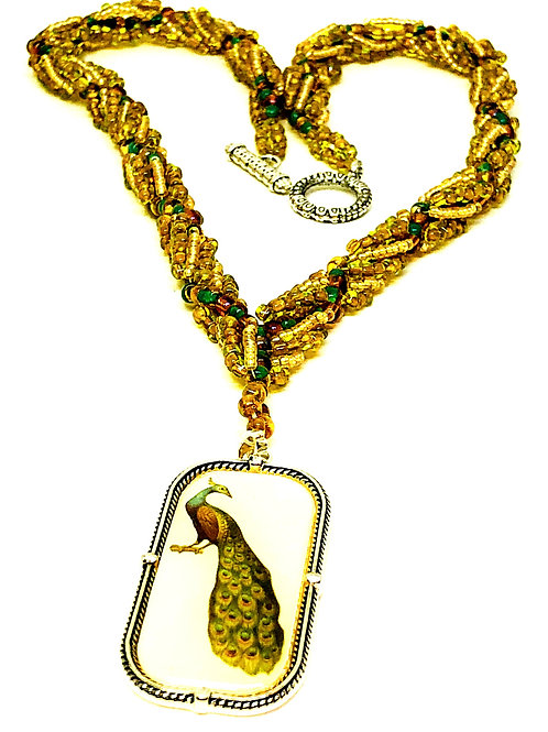 Gold Spiral with Peacock Pendant Necklace