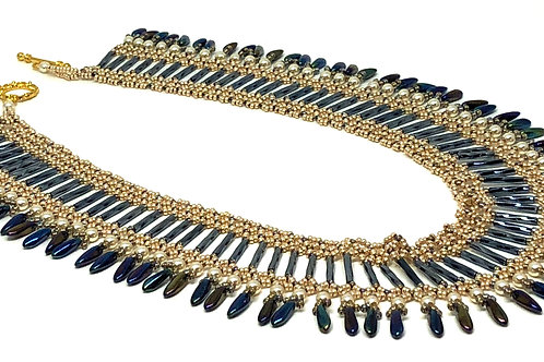 Gold Blue Bugle Bead Dagger Necklace