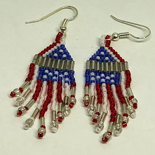 Red White Blue Flag Fringe Earrings