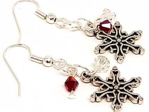 Red Crystal Christmas Snowflake Charm Earrings