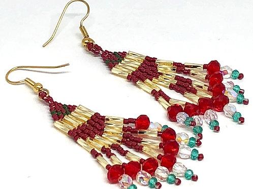 Red Green Gold Fringe Earrings