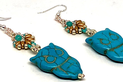 Turquose Gold Silver Shell Owl Earrings