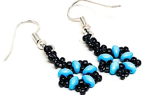 Turquoise Black Beadweaving Star Earring