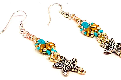Turquoise Gold Silver Shell Textured Starfish Earrings