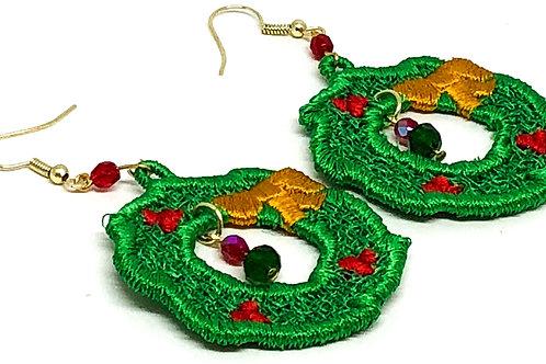 Green Christmas Wreath with Dangle Earrings
