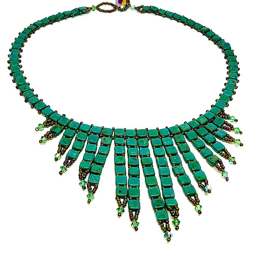 Green TIle Beadweaving Spike Statement Necklace