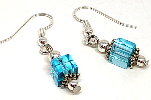 Crystal Blue Cube Bead Earrings