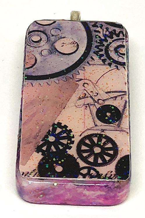 Purple Steampunk Gears Altered Art Domino Pendant