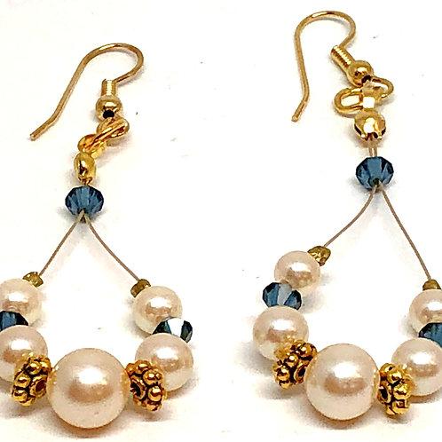 Pearl Blue Bicone Oval Dangle Bead Earrings