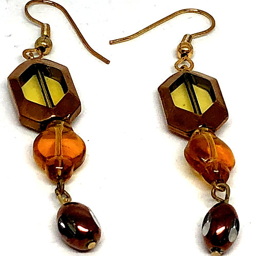 Gold Topaz Bead Earrings