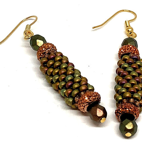 Bronze Olive Green Peyote Tube Beadweaving Earrings