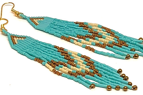 Turquoise Bronze Fringe Earrings