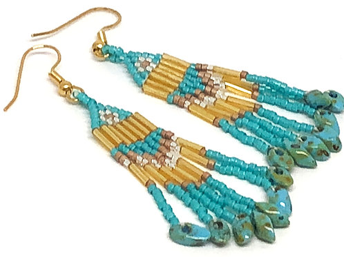 Turquoise Bronze with Turquoise Magatama Fringe Earrings