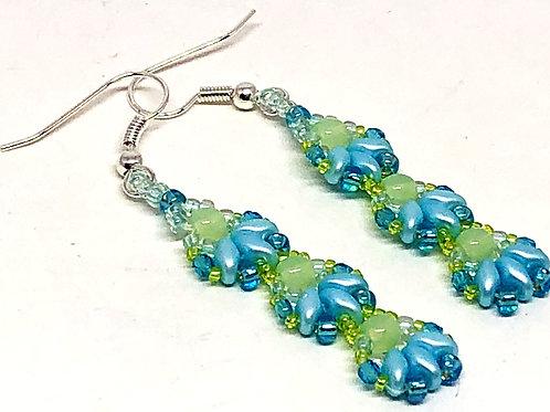 Blue Green Shell 3 Unit Earrings