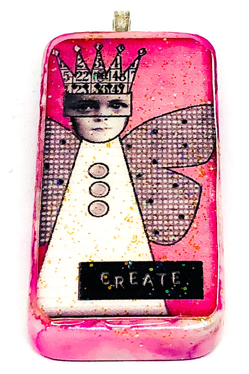 Pink Vintage Girl With Wings Altered Art Domino Pendant