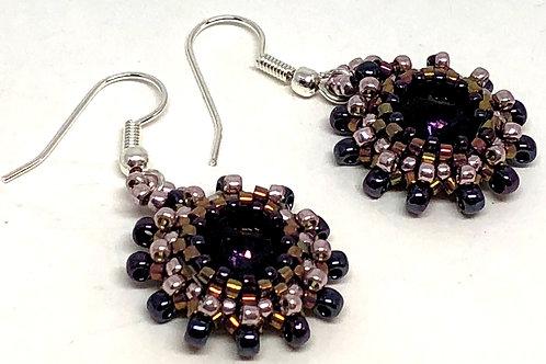 Purple Mauve Rivoli Bezeled Earrings