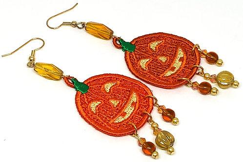 Halloween Pumpkin 2 Dangle Earrings