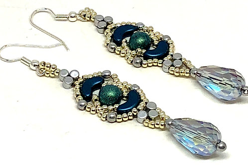 Blue Silver Crescent with Crystal Drop Earrings