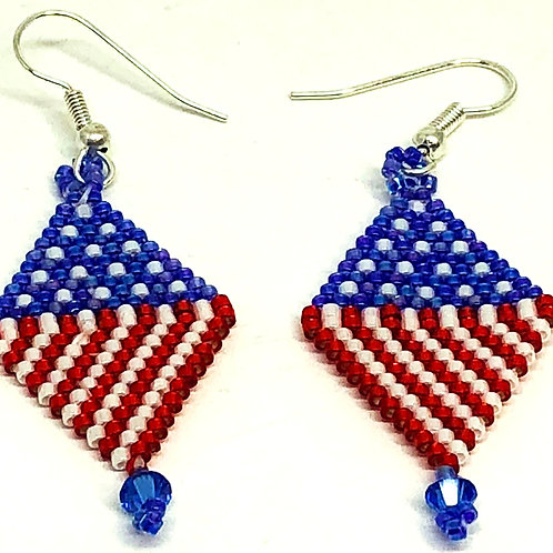 Red White Blue Diamond Beadweaving Earrings