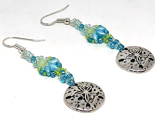 Blue Green Shell Sand Dollar Earrings