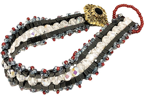 Black Crystal Beadweaving Bracelet
