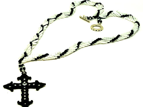 Black and White Spiral with Black Cross Pendant Necklace