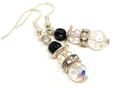 Extra Small Crystal Snowman with Rhinestone Scarf Earrings