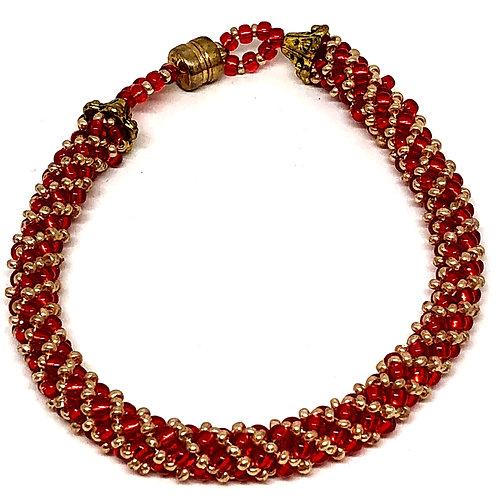 Ruby Red Gold Russian Spiral Beadweaving Bracelet