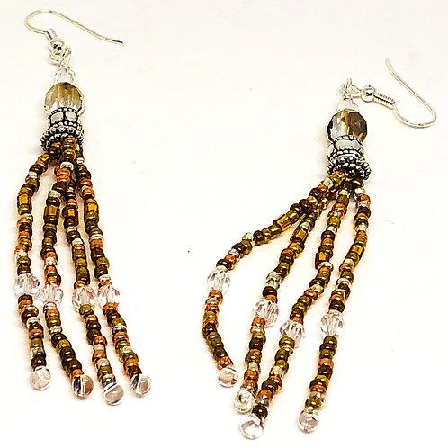 Bronze Silver Spacer Beads Fringe Earrings