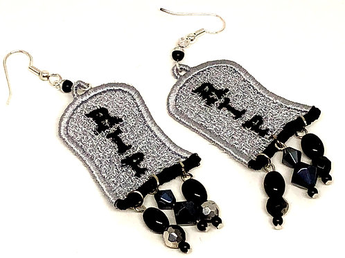 Halloween RIP Tombstone Dangle Earrings