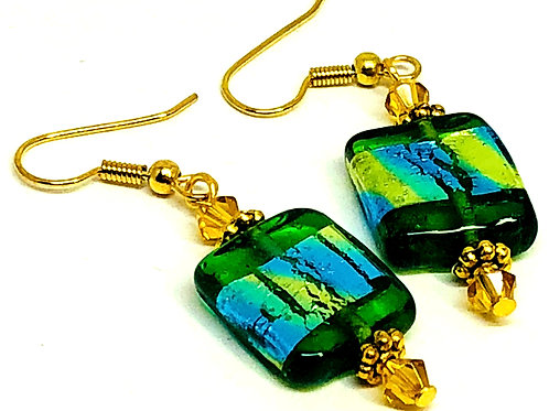 Green with Gold Stripe Rectangle Earrings