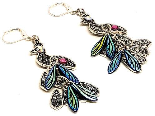 Silver Plated Peacock Rhinestone Dagger 2 Earrings