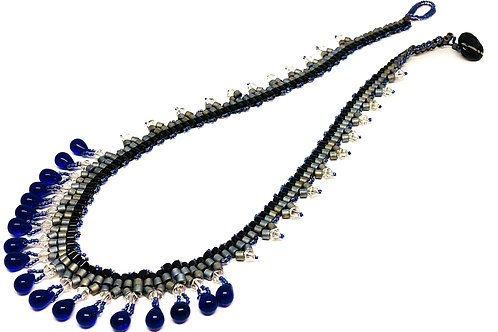 Blue Silver Drop Necklace