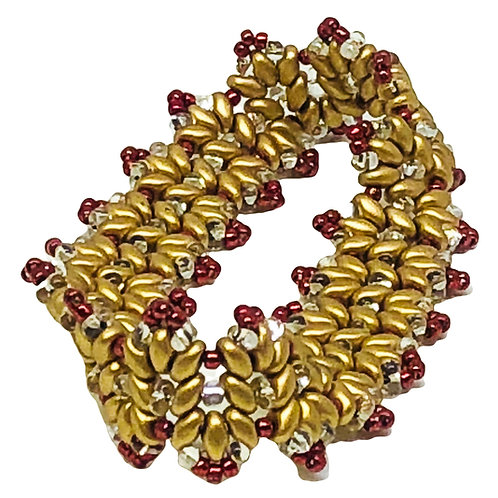 Gold Metallic Red Superduo Bangle Beadweaving Bracelet