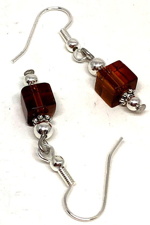Brown Cube Bead Earrings