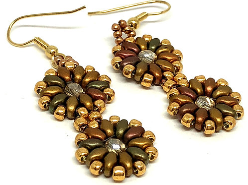 Copper Super Duo Medallion Beadweaving Earrings