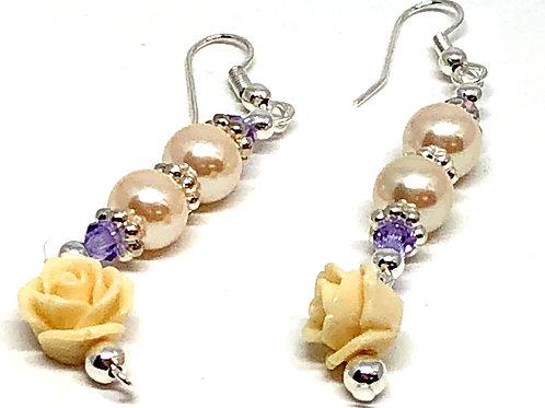 Silver Pearl Flower Dangle Earrings