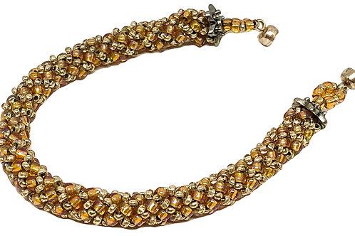 Dark Topaz Silver Russian Spiral Beadweaving Bracelet