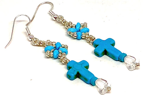 Turquoise Silver Cross Earrings