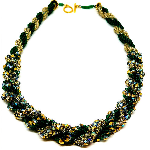 Green Crystal Double Spiral Necklace