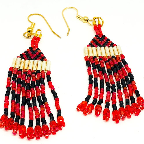 Red Black Silver Fringe Earrings