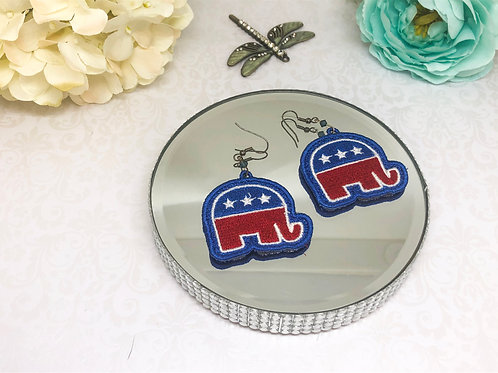Red White Blue Lace Machine Embroidery Elephant Earrings