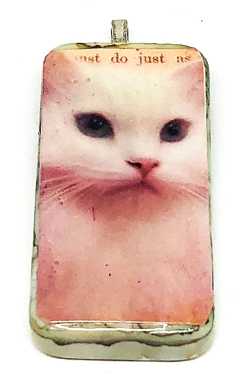 Vintage White Cat Altered Art Domino Pendant