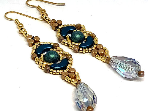 Blue Gold Crescent with Crystal Drop Earrings