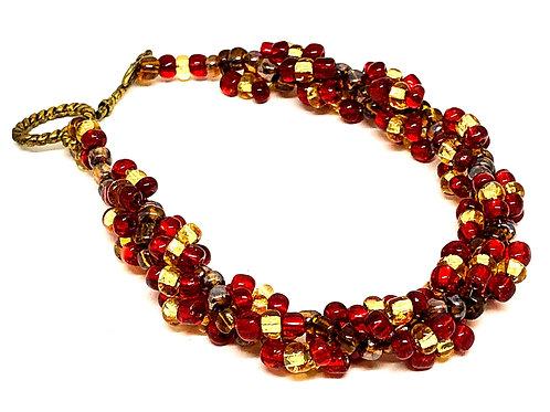 Red Gold Spiral Beadweaving Bracelet