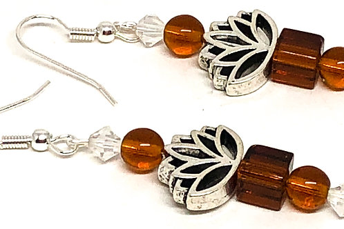 Brown Cube Lotus Bead Earrings