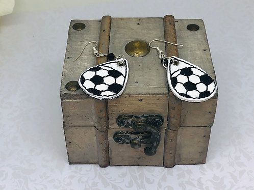 Tear Drop Soccer Vinyl Machine Embroidery Earrings