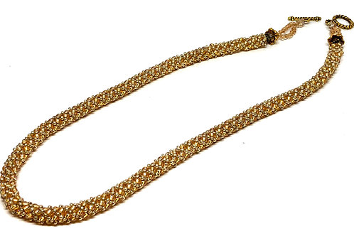 Gold Russian Spiral Beadweaving Necklace