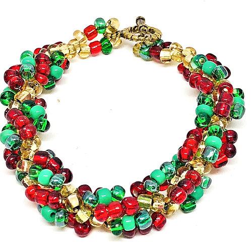 Dark Green Red Gold Spiral Beadweaving Bracelet
