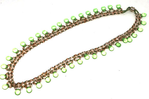 Green and Pink Rain Drops Necklace
